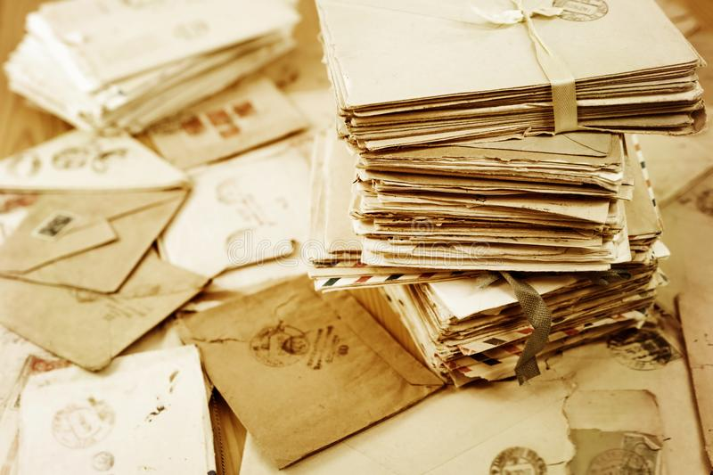 Old paper mail letters royalty free stock image