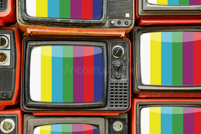Pile of old retro TV stock photography