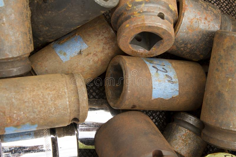 Pile of rusty old sockets royalty free stock photo