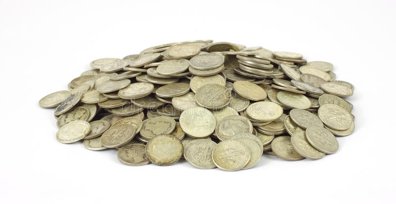 Download Pile of old silver dimes stock photo. Image of metal - 15088056