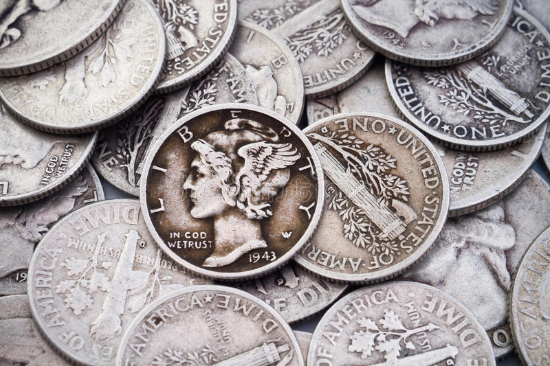 Download Pile Of Old Silver Dimes & Quarters Stock Image - Image: 15557129