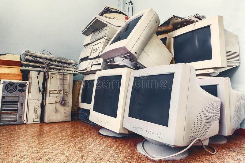 Old unused computers stock photography