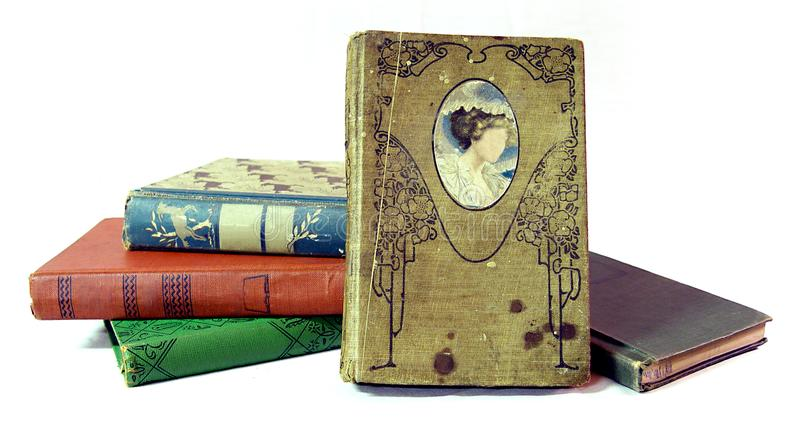 Pile of old vintage books stock photography