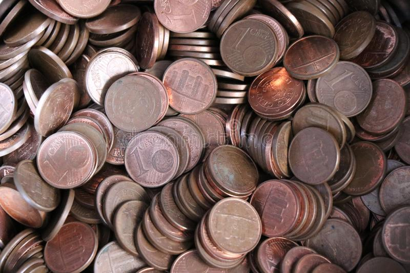 Pile of one Euro Cents royalty free stock photos