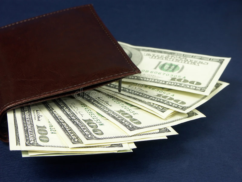 Pile of one hundred usd dollars stock photo