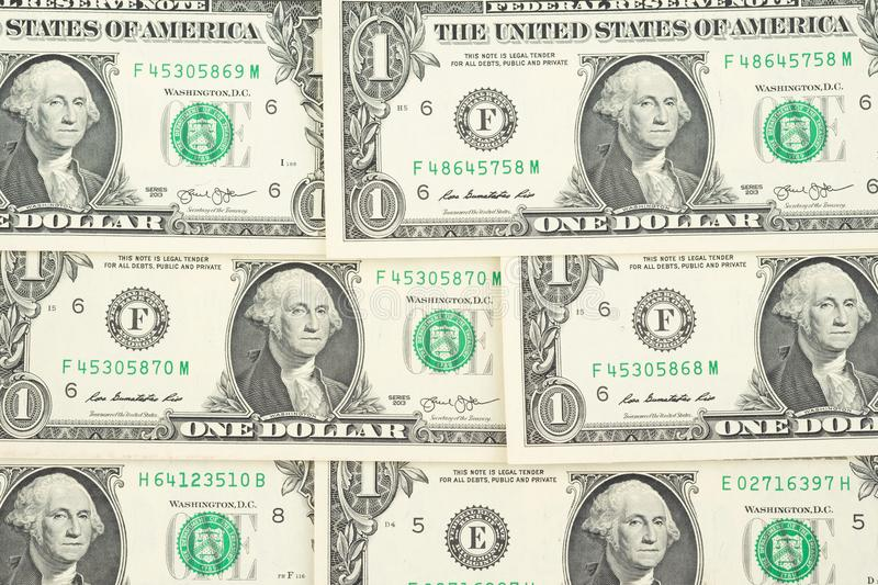 Pile of one US dollar banknotes as dollar money background. royalty free stock images
