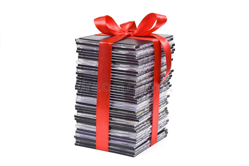 Pile of optical disc. With red ribbon royalty free stock photography