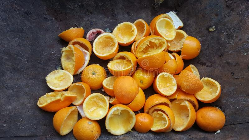 A pile of orange peel stock photography