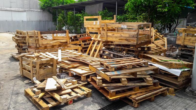 Pile of pallet wood stock photography