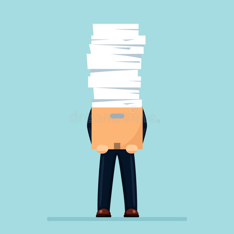 Pile of paper, busy businessman with stack of documents in carton, cardboard box. Paperwork. Bureaucracy concept. Stressed vector illustration