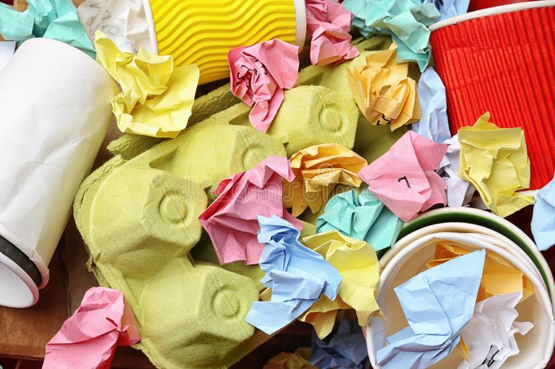 Pile of paper and cardboard garbage as background. Recycling problem. Pile of paper and cardboard garbage as background, top view. Recycling problem royalty free stock photos