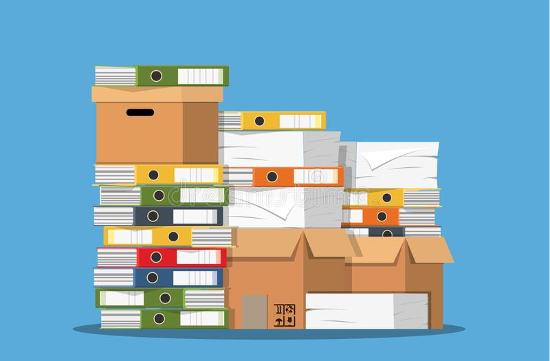Pile of paper documents and file folders. stock illustration