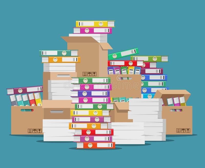 Pile of paper file. Unorganized office documents, unfinished paperwork disarray or folders and papers stack cartoon vector illustration stock illustration