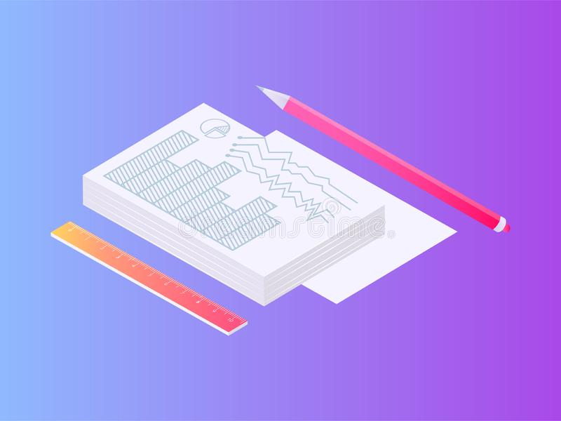 Pile of Papers Documents with Pencil and Ruler Set royalty free illustration
