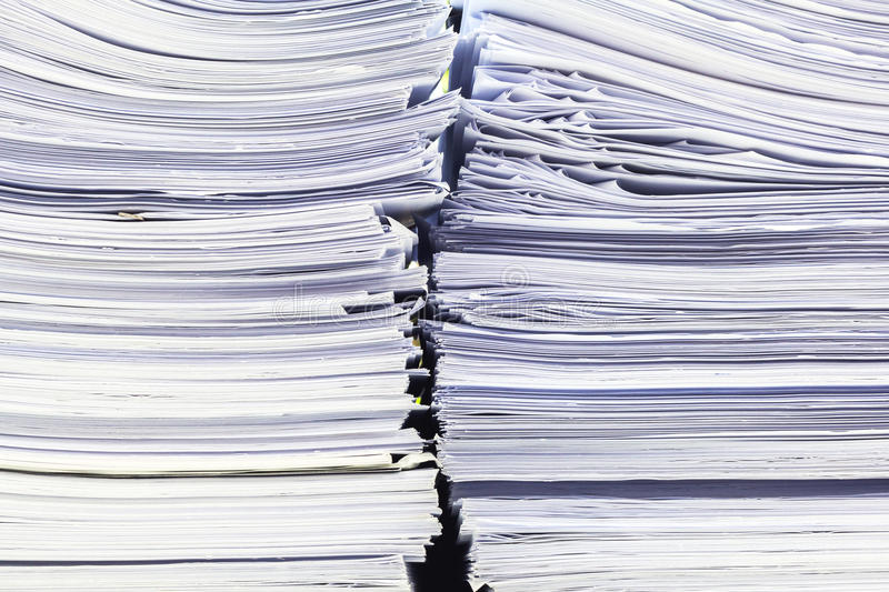 Pile of papers laid overlap royalty free stock photography