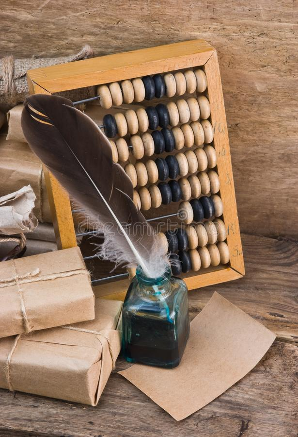 pile parcel and abacus royalty free stock image