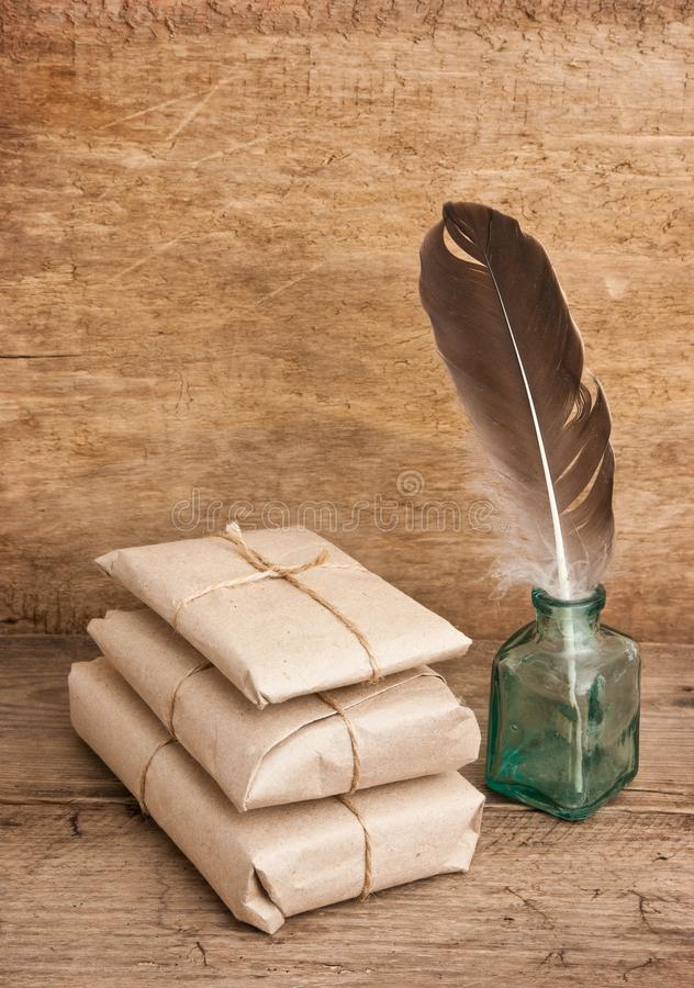 pile parcel wrapped stock image