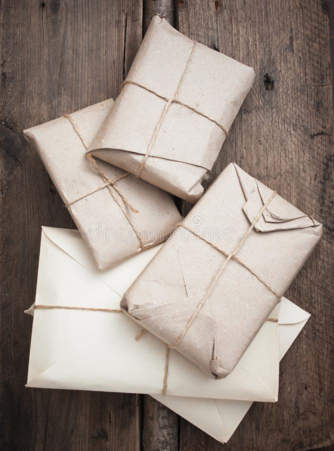 pile parcel wrapped royalty free stock images