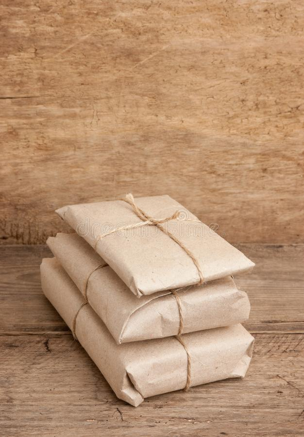 pile parcel wrapped royalty free stock photos