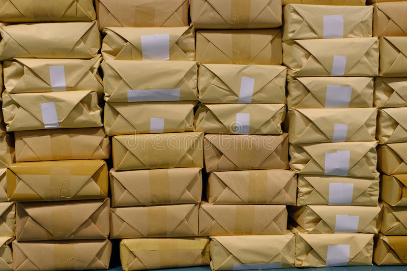 Pile of parcels for delivery stock photo