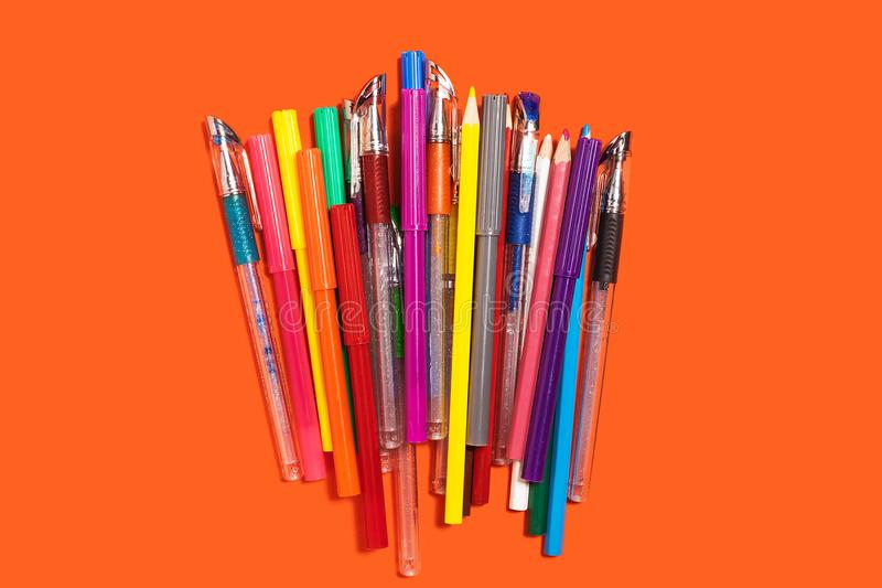 Pile of pencils, markers and pens royalty free stock photo
