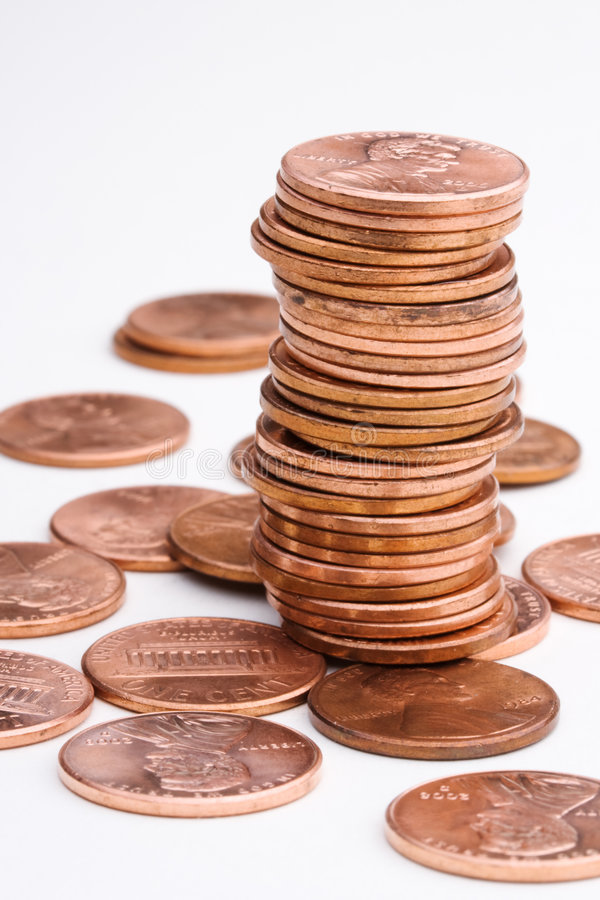 Pile of pennies stock image