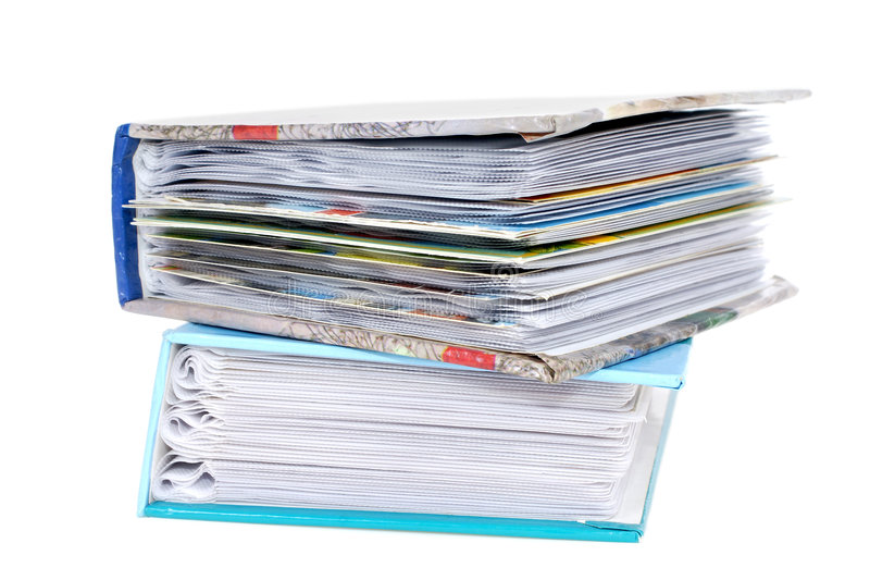 Pile of photoalbums stock photography