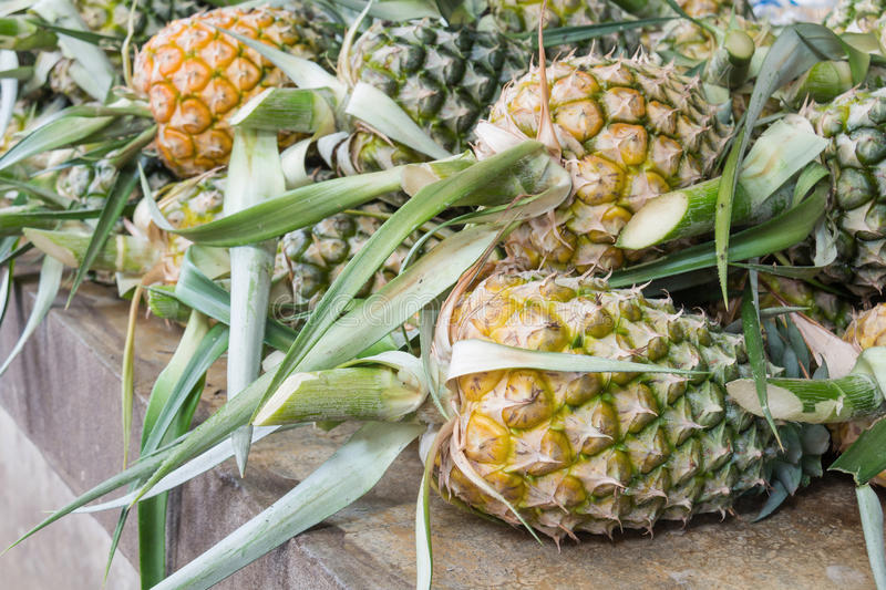 Pile of pineapples at the market. Thailnd stock photo