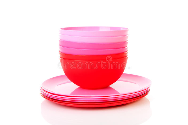 Download Pile Of Pink Plastic Plates And Bowls Stock Photo - Image of blue isolated  sc 1 st  Dreamstime.com & Pile Of Pink Plastic Plates And Bowls Stock Photo - Image of blue ...