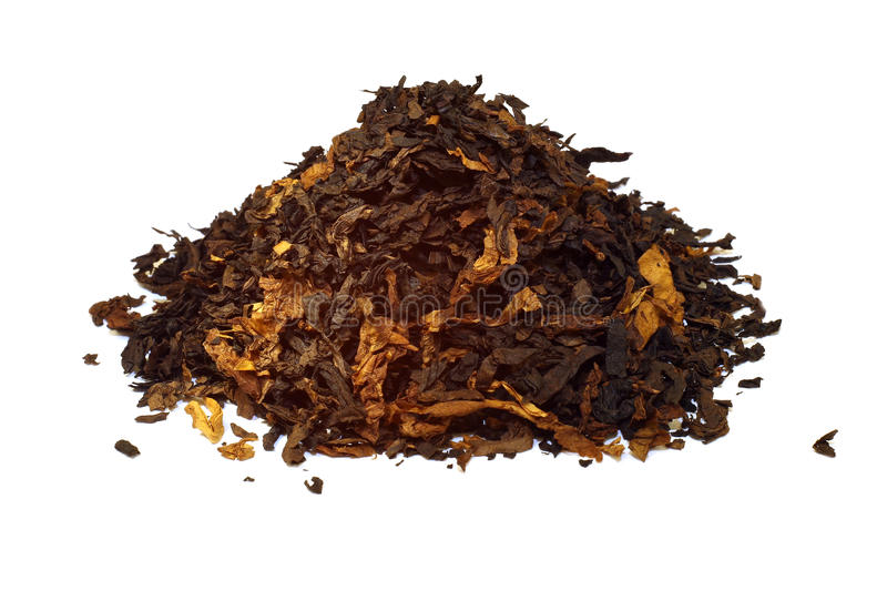 Pile of pipe tobacco isolated on white royalty free stock photography