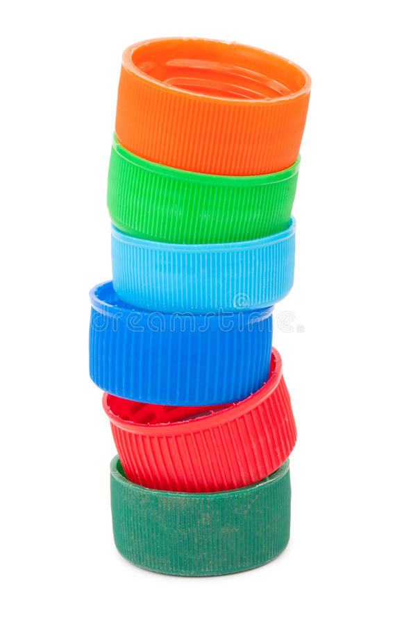 Pile of plastic PET bottle caps royalty free stock photography