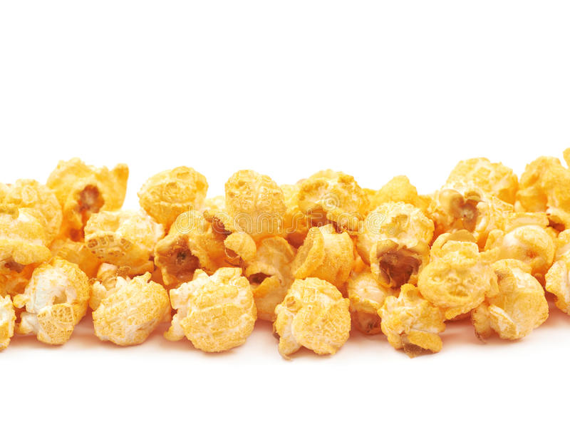 Pile of popcorn flakes isolated stock photography