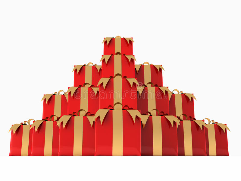 Pile of Presents. A render of a pile of presents over a white background royalty free illustration