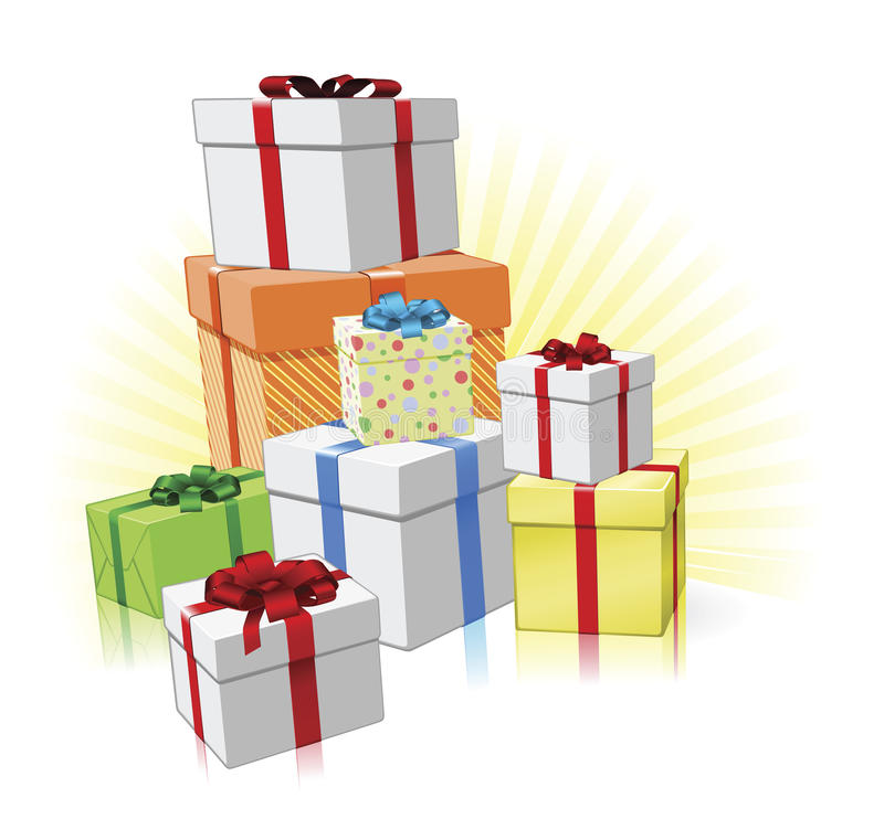 Pile of presents concept royalty free illustration