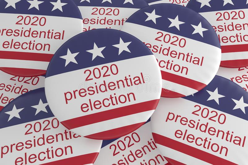 Pile of 2020 Presidential Election Buttons With US Flag, 3d illustration. USA Politics Election News Badges: Pile of 2020 Presidential Election Buttons With US stock illustration