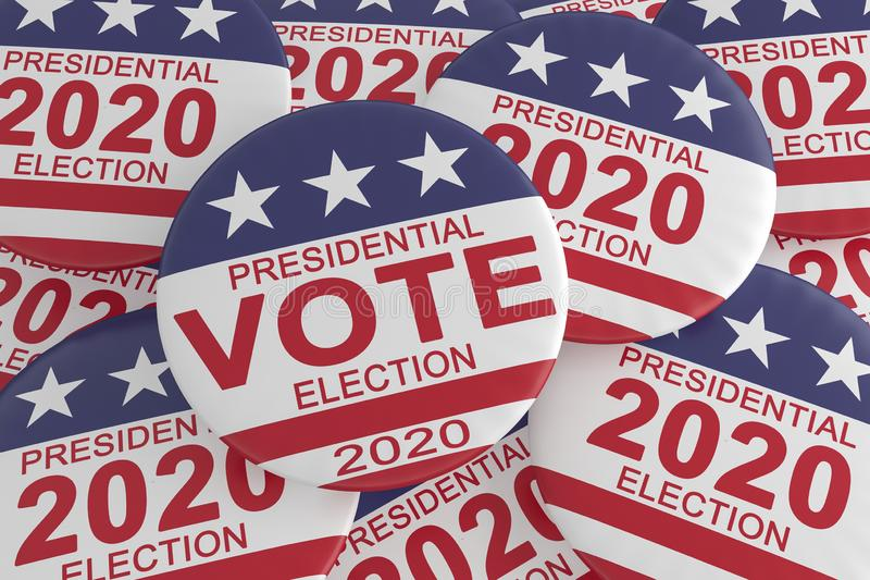 Pile of 2020 Presidential Election Vote Buttons With US Flag, 3d illustration. USA Politics Election News Badges: Pile of 2020 Presidential Election Vote Buttons royalty free illustration