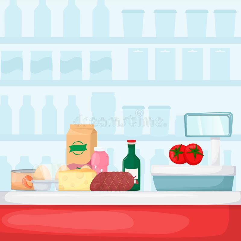 Pile of purchases near checkout counter. Food store, supermarket interior. Set of fresh, healthy and natural product. Vector royalty free illustration