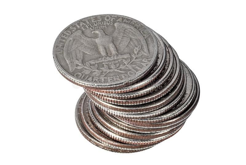 Pile of quarter dollar coins on white background royalty free stock photography