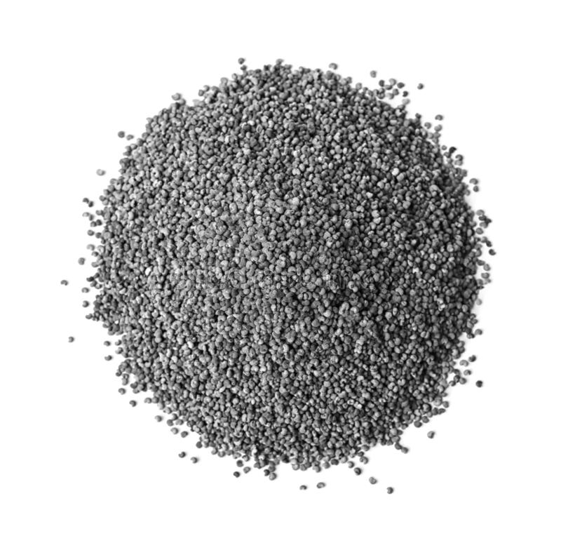 Pile of raw poppy seeds on white background. Top view stock photo