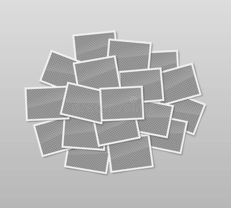 Pile of realistic blank photo frames stock illustration