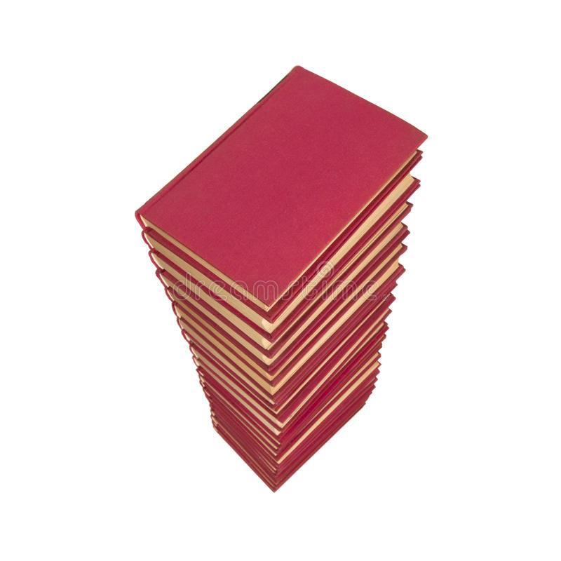 Pile of red books. On white background royalty free stock photo