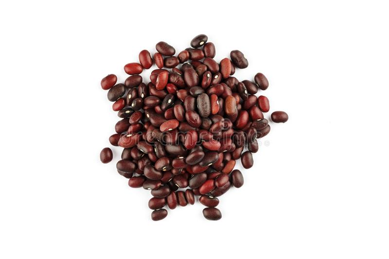 Pile of red kidney bean on a white background stock photos