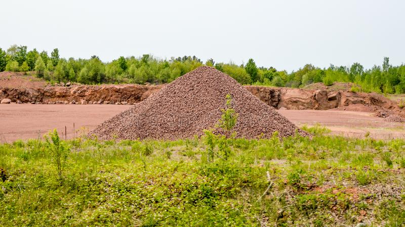Pile of Red Rocks on Construction Site stock photo