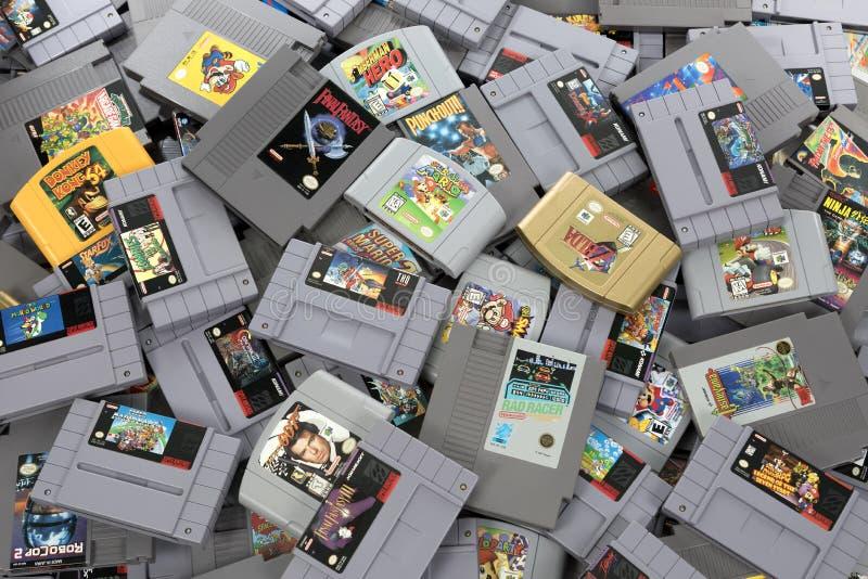 Pile of Retro Video Game Cartridges stock image