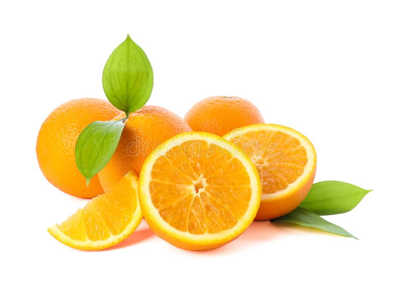 Pile of ripe oranges isolated on white background. Healthy food royalty free stock image