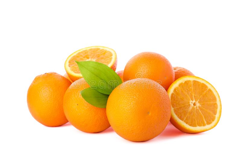 Pile of ripe oranges isolated on white background. Healthy food stock image