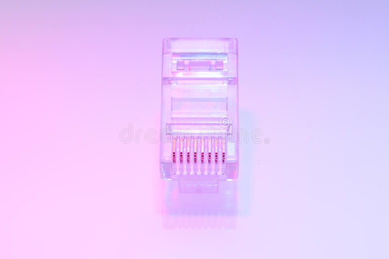 Pile of RJ45 ethernet connectors. Isolated on white background and color light royalty free stock photography