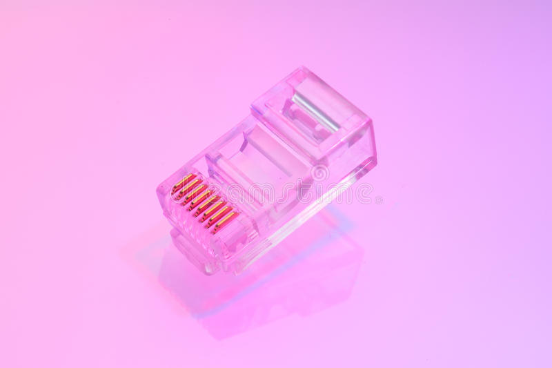 Pile of RJ45 ethernet connectors. Isolated on white background and color light stock image