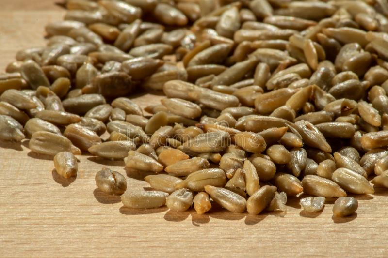 Pile of roasted and salted sunflower seeds stock photos