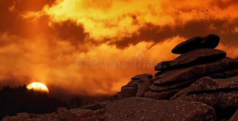 Pile of Rock during Golden Hour stock images